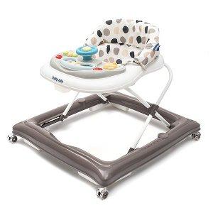 Dětské chodítko Baby Mix s volantem a silikonovými kolečky šedo-bílé, Multicolor