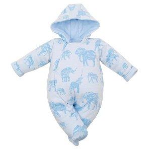 Zateplená kojenecká kombinéza s kapucí Baby Service Sloni růžová, vel. 74 (6-9m), Modrá