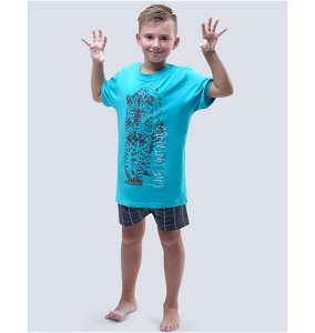GINA dětské pyžamo krátké chlapecké, šité, s potiskem Pyžama 2017 79052P  - šedá tm. šedá 140/146, vel. 140/146, tyrkysová tm. šedá