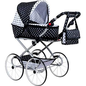Dětský Retro kočárek pro panenky 2v1 New Baby Anetka růžový s puntíky, Dle obrázku