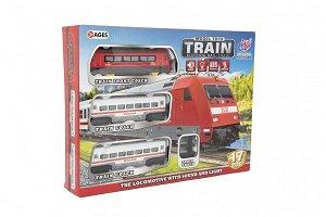 Teddies Vlak s kolejemi 17ks plast na baterie se zvukem se světlem v krabici 40x30x7cm