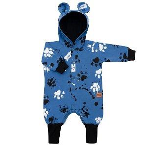 Kojenecký bavlněný overal s kapucí a oušky New Baby Paw modrý, vel. 62 (3-6m)