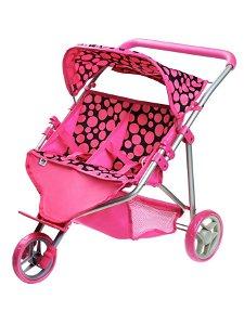 Sportovní kočárek pro 2 panenky PlayTo Klaudie růžový