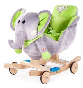GrandS Houpací zvířátko s melodií zelený slon K3145