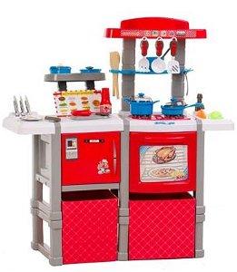 Doris velká dětská kuchyňka s tekoucí vodou a lednicí - červená