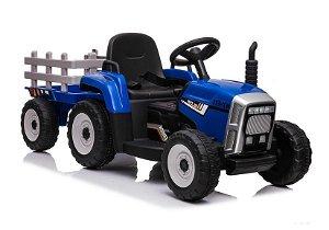 Elektrický traktor s vlečkou - modrý