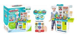 Dětská kuchyňka s dotykovým panelem - modrá