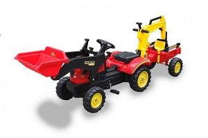Tomido Šlapací traktor s nakladačem, rypadlem a vlečkou