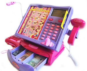 Dětská elektronická pokladna s dotykovým panelem a čtečkou - růžovo fialová