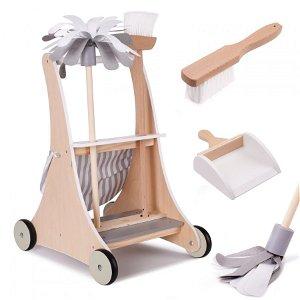 Dětský dřevěný úklidový vozík s příslušenstvím