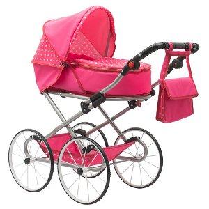 Dětský Retro kočárek pro panenky 2v1 New Baby Anetka růžový s puntíky Růžová