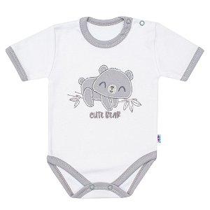 Kojenecké bavlněné body s krátkým rukávem New Baby Cute Bear Bílá 56 (0-3m)