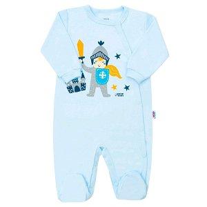 Kojenecký bavlněný overal s bočním zapínáním New Baby Knight Modrá 80 (9-12m)