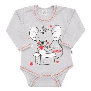 Kojenecké body s dlouhým rukávem New Baby Mouse šedé Šedá 80 (9-12m)