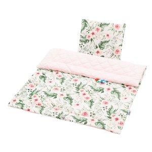 Oboustranný Set z Velvet do kočárku New Baby květiny růžový Růžová