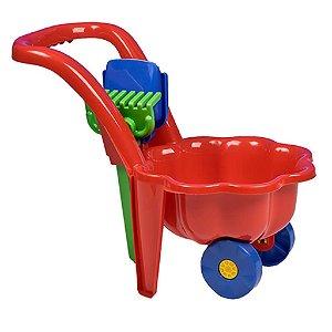 Dětské zahradní kolečko s lopatkou a hráběmi BAYO Sedmikráska červené Červená