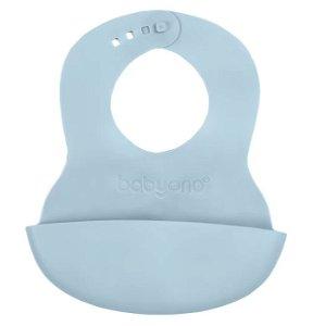 BABYONO Bryndák měkký plastový s kapsou bez BPA light blue 6 m+