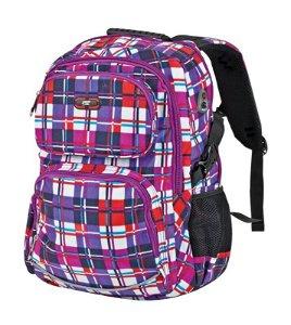 Easy školní batoh Fialové káro 46 x 35 x 15 cm
