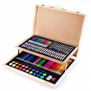 Easy kreativní a výtvarná sada 108 kusů, dřevěný kufřík