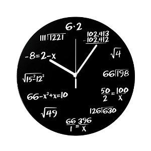 Matematické plastové hodiny, Černé průměr 30cm
