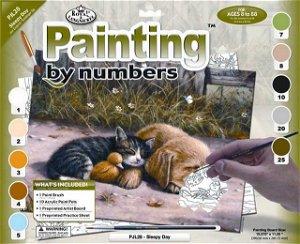 Royal Langnickel malování podle čísel - Spící pes s kočkou 40x30 cm