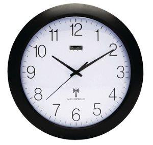 Nástěnné hodiny řízené rádiem, Černé průměr 30 cm