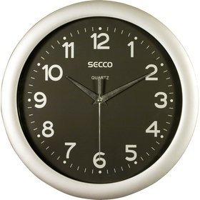 Secco Stříbrné nástěnné hodiny, Průměr 28 cm
