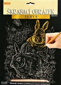 ArtLover škrabací obrázek zlatý, Zajíci - 25x20 cm