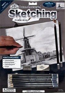 Malování skicovacími tužkami - Větrný mlýn