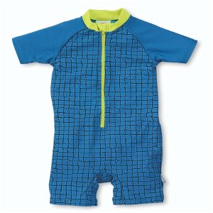 Sterntaler plavky overal krátký rukáv chlapecký UV 50+ modrý, čtverečky 2502171