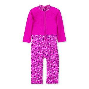 Sterntaler plavky dívčí overal dlouhý rukáv UV 50+ růžových se srdíčky 2502079