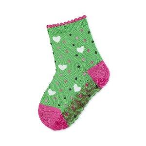Sterntaler ponožky ABS protiskluzové chodidlo AIR zelené srdíčka 8132106
