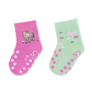 Sterntaler ponožky na lezení protiskluzové dívčí 2 páry růžové, zelené koník 8012123