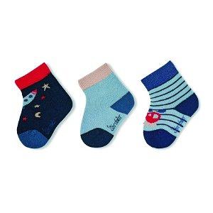 Sterntaler kojenecké ponožky chlapecké 3 páry tmavě modré raketa 8312120
