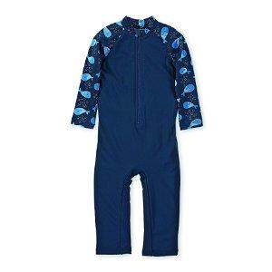 Sterntaler plavky chlapecké overal dlouhý rukáv UV 50+ modré rybičky 2502077