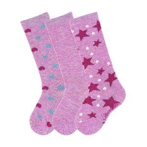 Sterntaler podkolenky 3páry dívčí růžové se třpytem