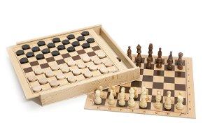 Jeujura Šachy a dáma v dřevěné krabici