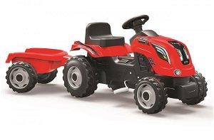 Smoby Šlapací traktor Farmer XL s vozíkem - červený