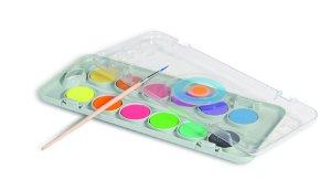 PRIMO Vodové barvy - 8 metalické, 4 fluo barvy a štětec