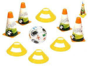 Fotbalové kužely 18cm 4ks a mety 4ks s míčem 12cm