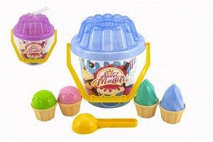 Teddies Sada na písek plast kbelík, lopatka, bábovky 2 barvy v síťce 20x21x20cm 12m