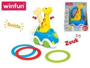 Mikro trading Auto žirafa narážecí s kroužky - 23 cm