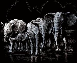 ROYAL & LANGNICKEL Škrabací obrázek - Stádo slonů (stříbrné)